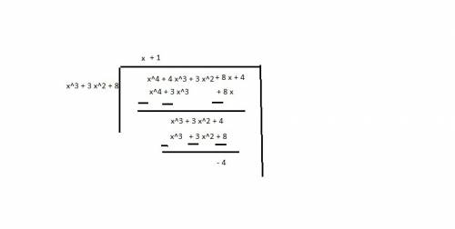 The volume of a rectangular prism is (x4 + 4x3 + 3x2 + 8x + 4), and the area of its base is (x3 + 3x